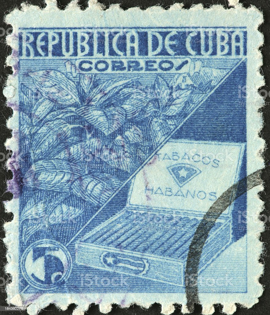 box of Cuban Habanos cigars on an old postage stamp stock photo