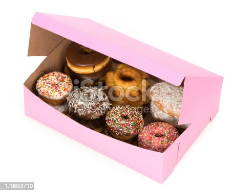 A generic pink box of decorated donuts with a 3/4 view from above.. A clipping path is supplied for the box and the background is 255 white.
