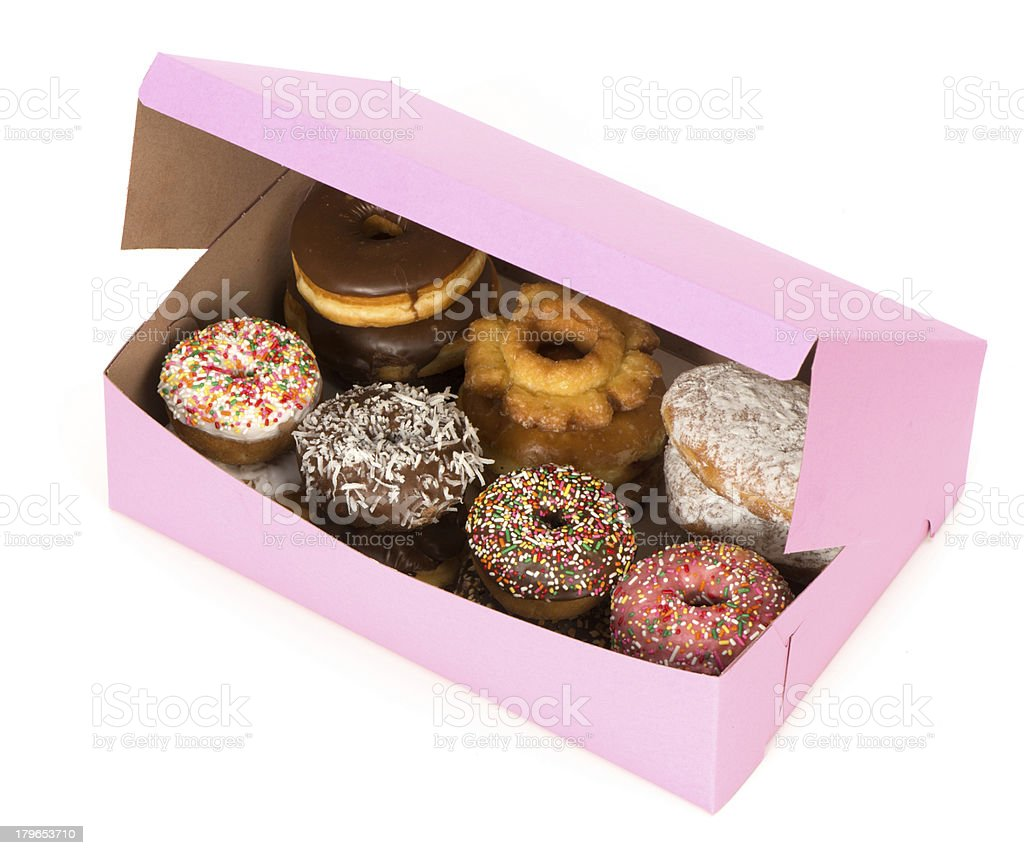 Box of decorated donuts in pink box-clipping path stock photo