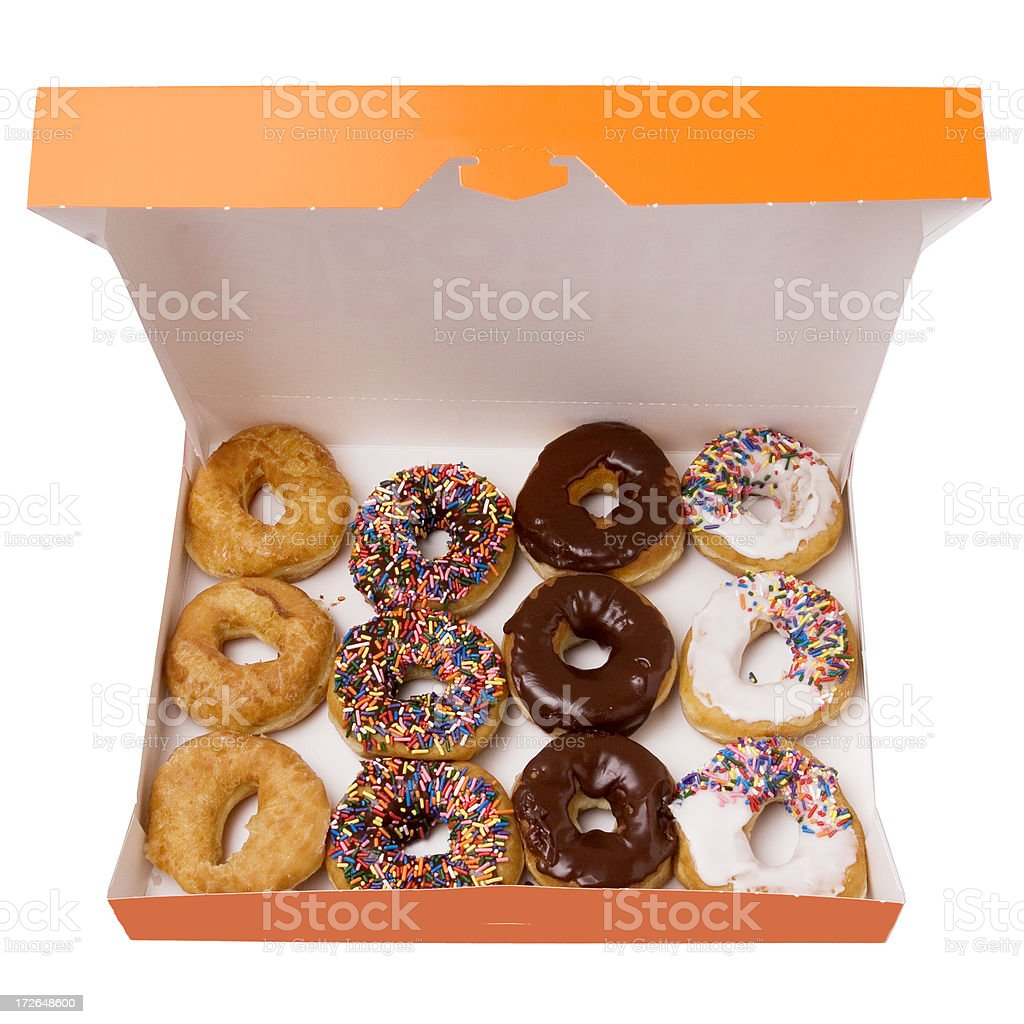 Box of doughnuts donuts with clipping path stock photo