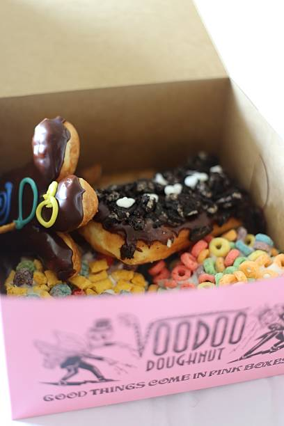 Box of Doughnuts from Voodoo Doughnut stock photo