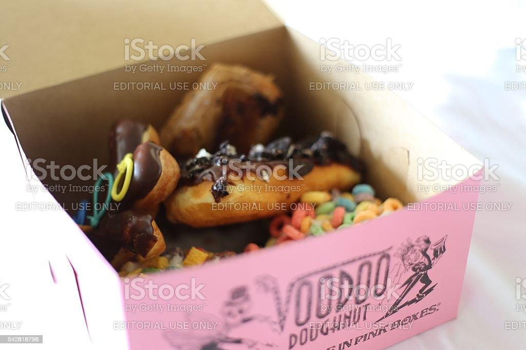 Box of Doughnuts from Voodoo Doughnut stock photo