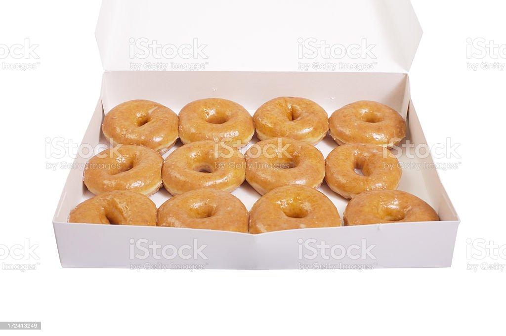 Box of doughnuts (isolated) stock photo