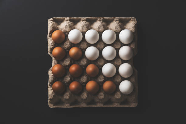 Box of eggs on black background stock photo