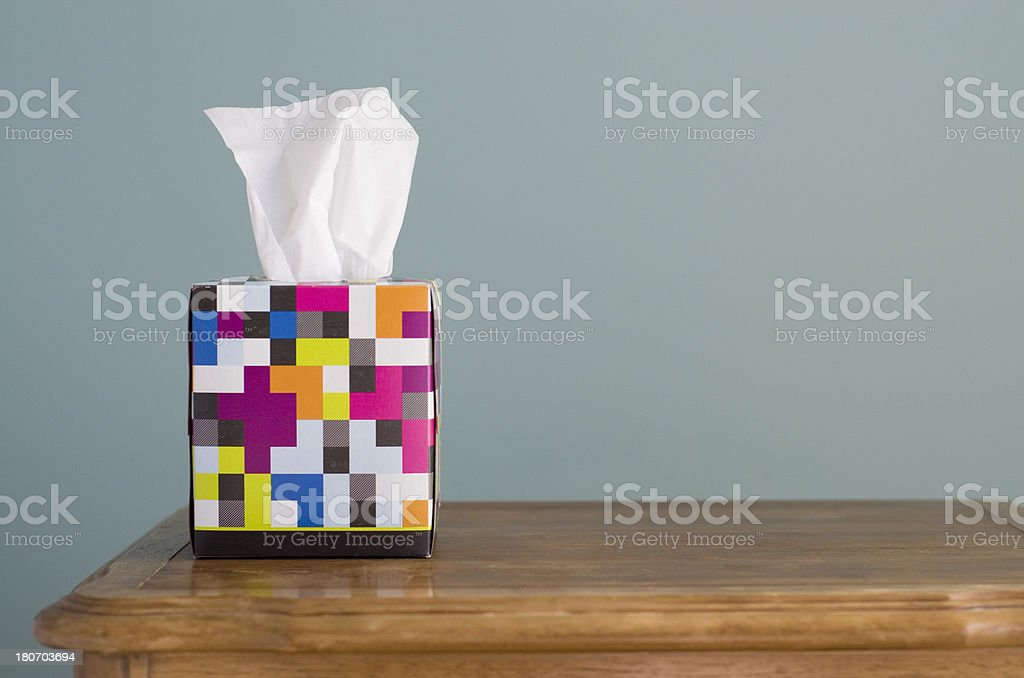 box of Facial Tissue stock photo
