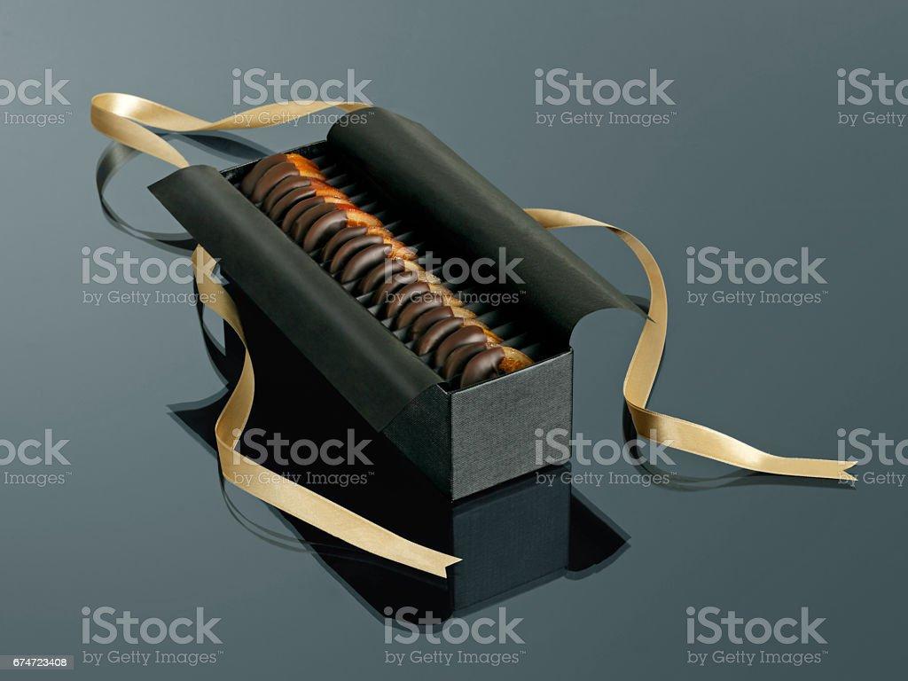 box of fruit chocolate stock photo