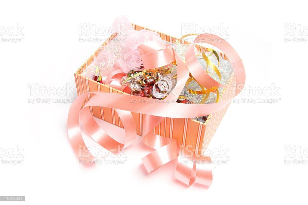 Box of Gift Ribbons stock photo