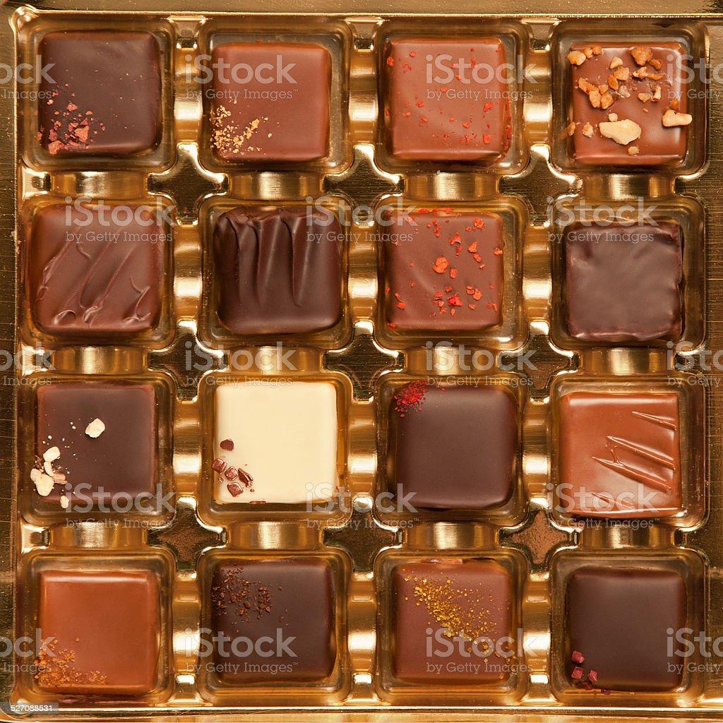 Box of Handmade Luxury Chocolates stock photo