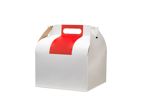 Red and white coloured box of kraft cardboard for fast food.