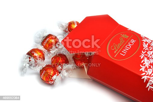 Port-Louis, Mauritius - April 10, 2015: A box of Lindt Lindor chocolate truffles. Lindt is part of the Lindt & Sprungli group, a Swiss company. Since 1845 Lindt has been producing the worlds finest chocolates