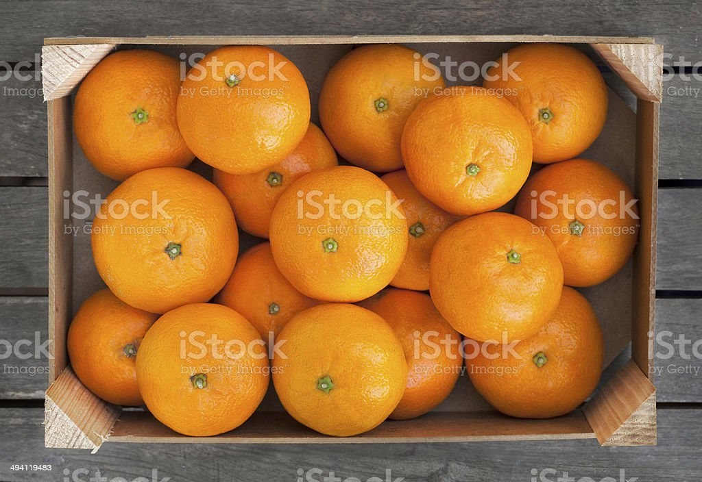 Box of mandarins stock photo