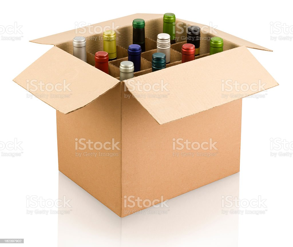 A box of multi-colored wine bottles stock photo