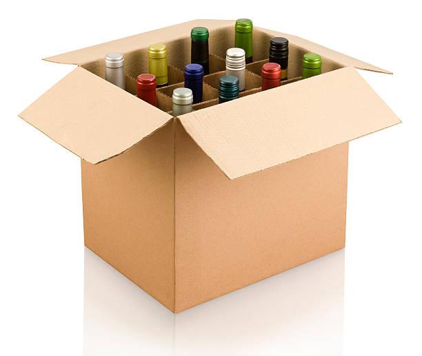 a box of multi-colored wine bottles - wine box bildbanksfoton och bilder