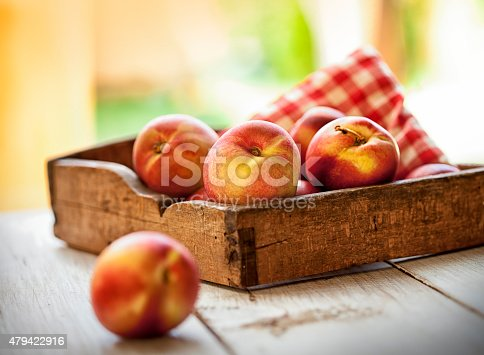 Box of nectarines on the wooden table