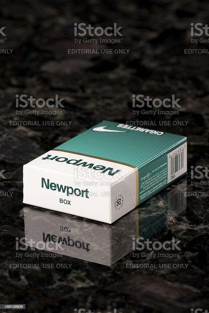 Box Of Newport Menthol Cigarettes On Black Granite Countertop Stock