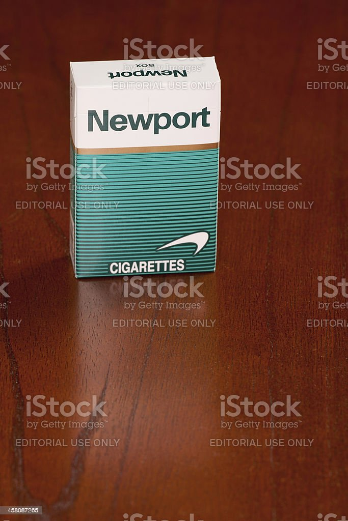 Box Of Newport Menthol Cigarettes On Black Wooden Table Stock Photo