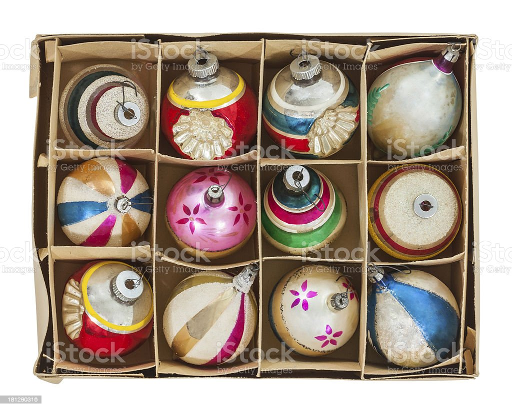 Box of Old Christmas Ornaments stock photo