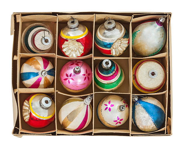 box of old christmas ornaments - vintage ornaments stock photos and pictures
