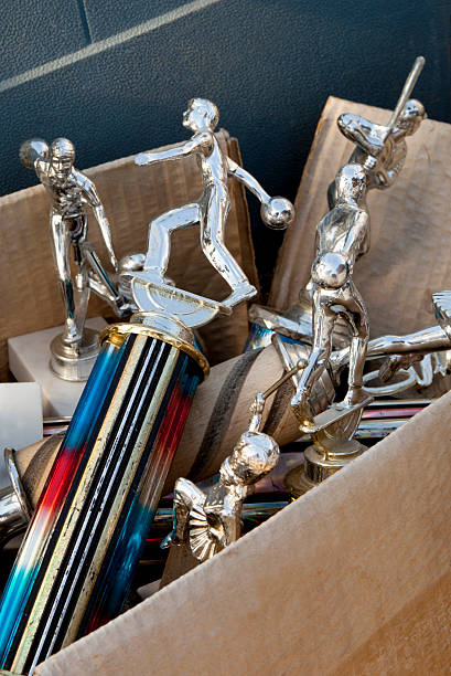 Box of old trophy collection stock photo