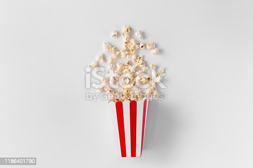 One box of popcorn isolated on white background top view