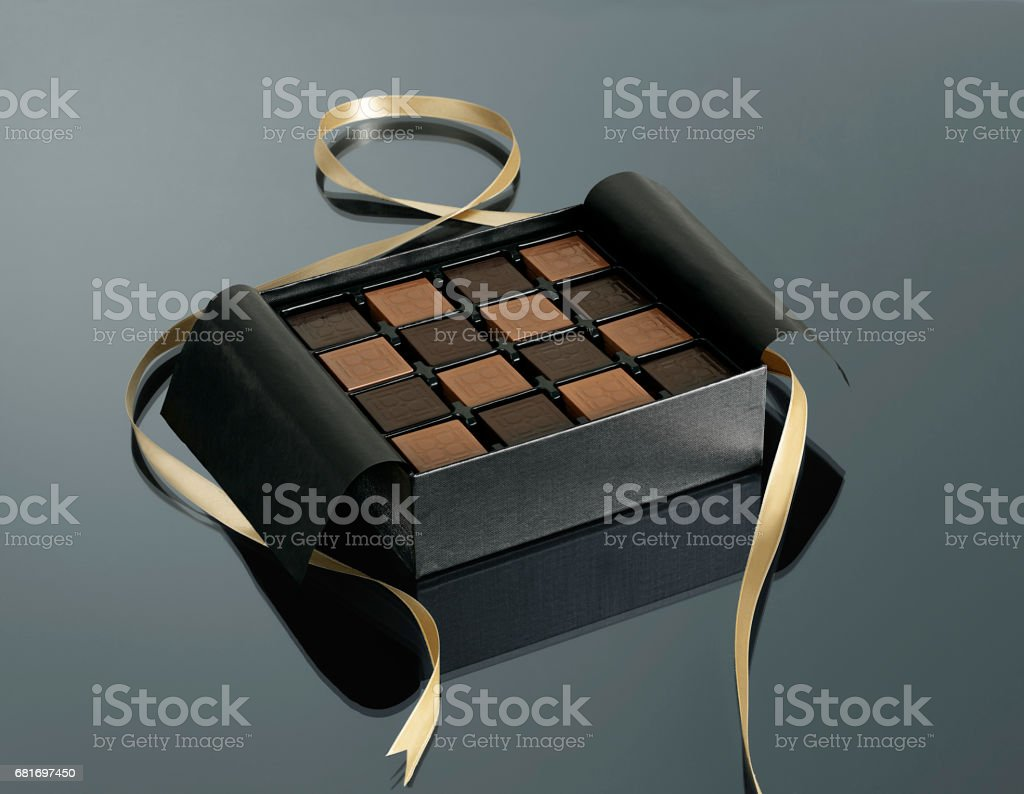 box of swiss chocolate stock photo