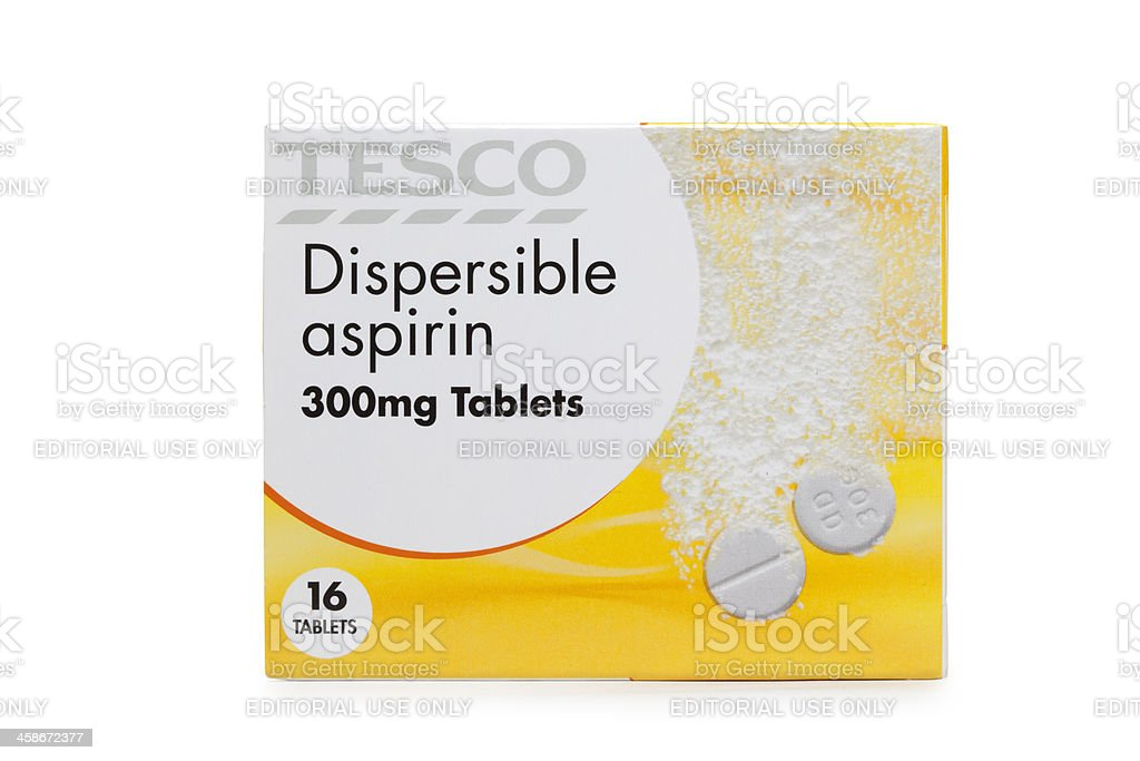 Box of Tesco aspirin tablets isolated on white medicine royalty-free stock photo