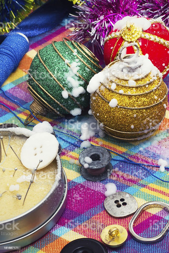 box of thread and needles  Christmas decorations royalty-free stock photo