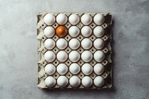 Box of white eggs with one brown egg, square egg carton on gray background. Easter eggs. Shot from directly above.