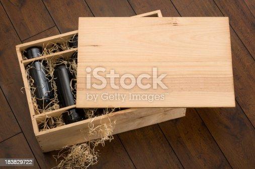 Box containing twelve bottles of wine.