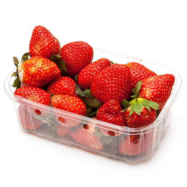 Box or punnet of strawberries Box or punnet of strawberries isolated on a white studio background.Box or punnet of strawberries isolated on a white studio background. fruit carton stock pictures, royalty-free photos & images