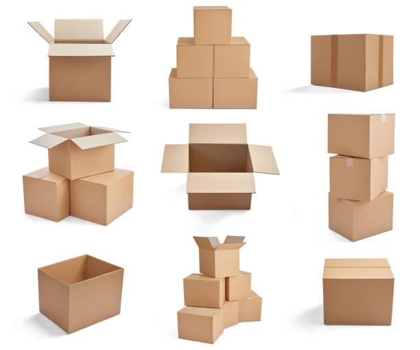pilha de papelão da caixa de entrega de pacote caixa - box - fotografias e filmes do acervo