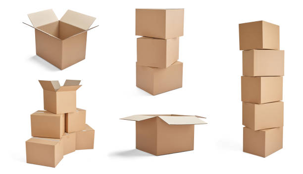 box package delivery cardboard carton stack stock photo