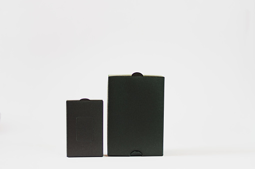 box packaging of product, black color, on white