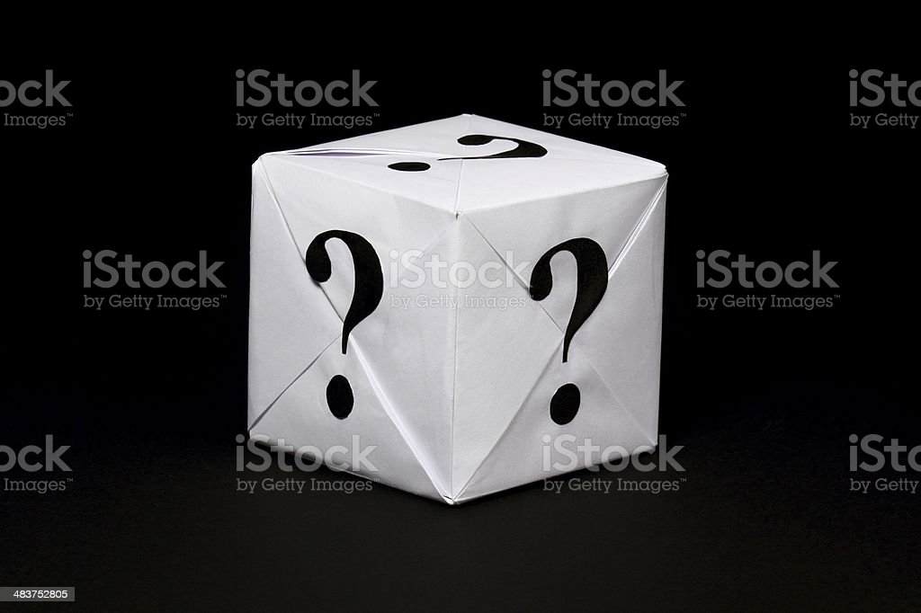 Box Paper box with question sign Black Color Stock Photo