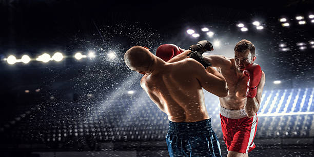 box professional match . mixed media - boxing stock pictures, royalty-free photos & images
