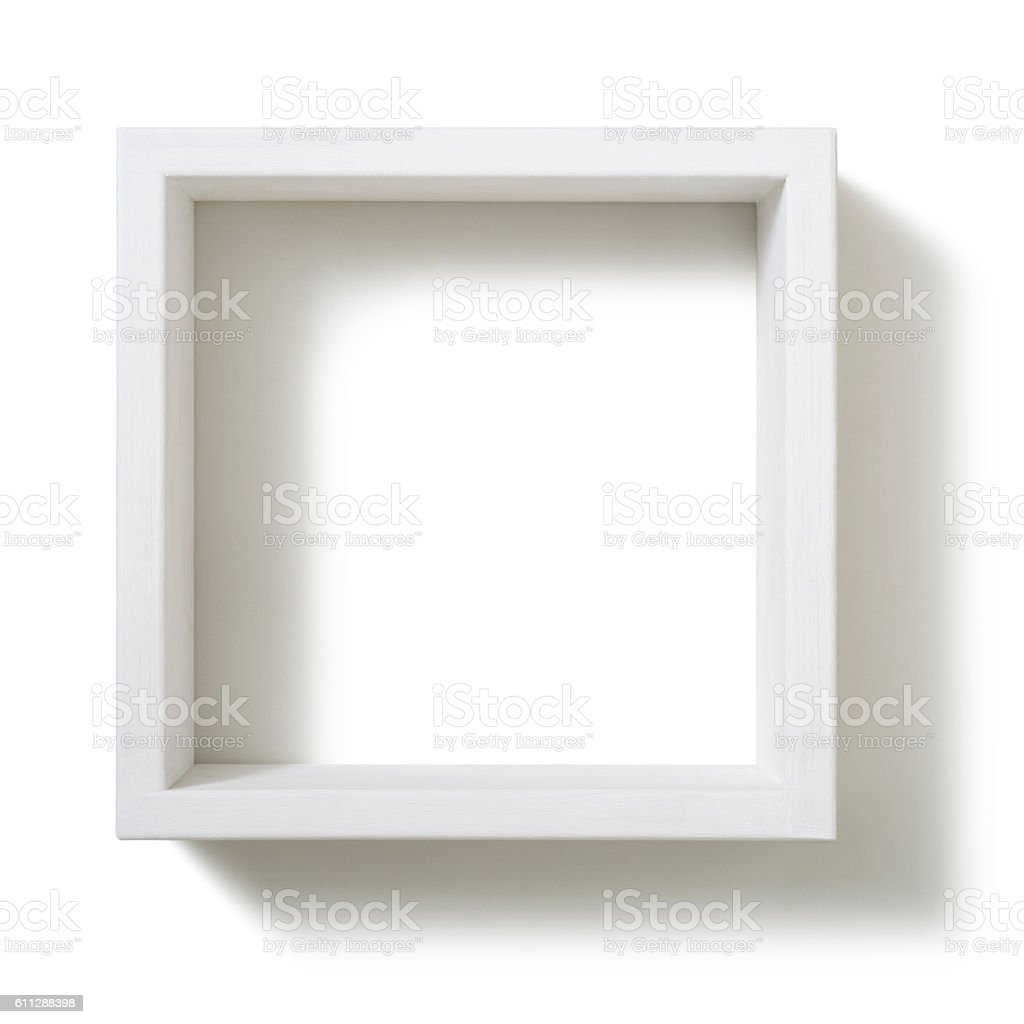 Box shelf isolated on white background stock photo