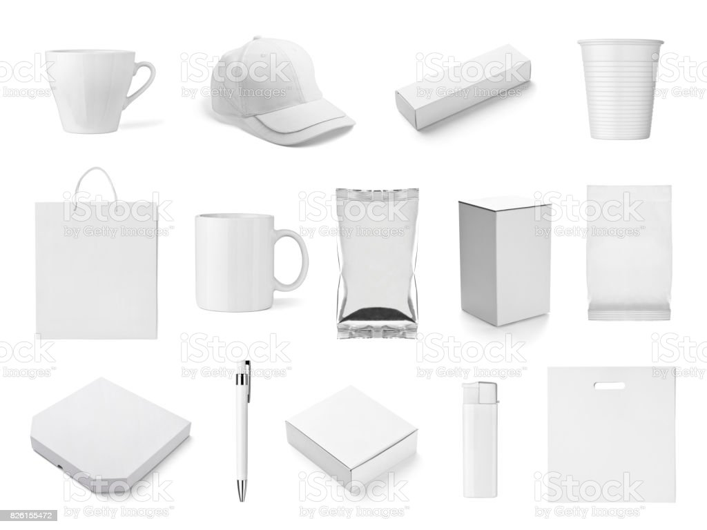 box t shirt bag mug cup cap tin can lighter stock photo