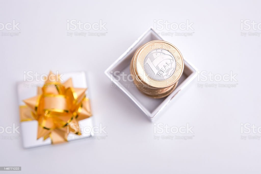 box to gift and coin royalty-free stock photo