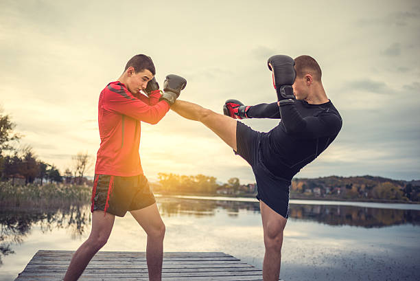 Box training outdoors stock photo