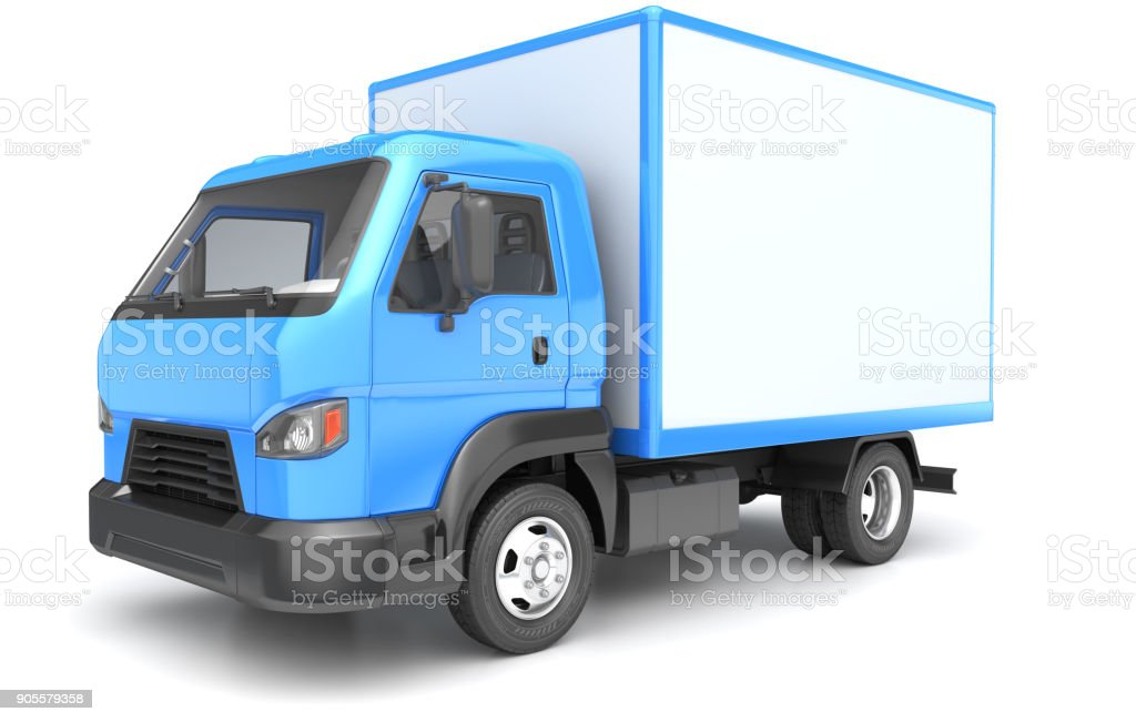 Box truck isolated on white stock photo