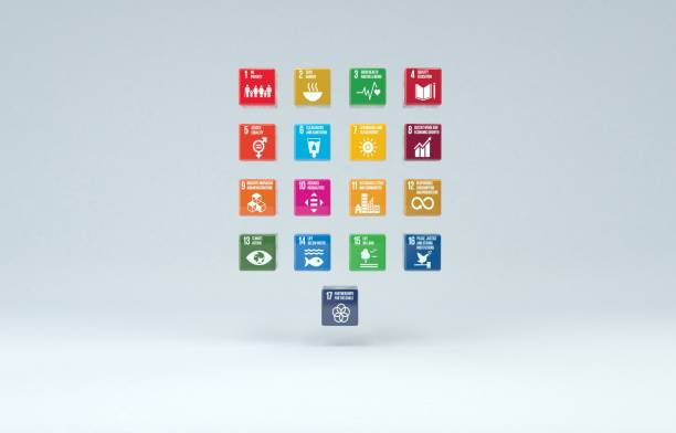3d 박스 un 지속가능성 목표 2030 - united nations 뉴스 사진 이미지