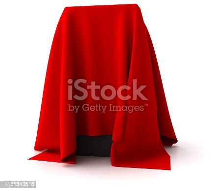 Black box covered with a red cloth. Digitally Generated Image isolated on white background