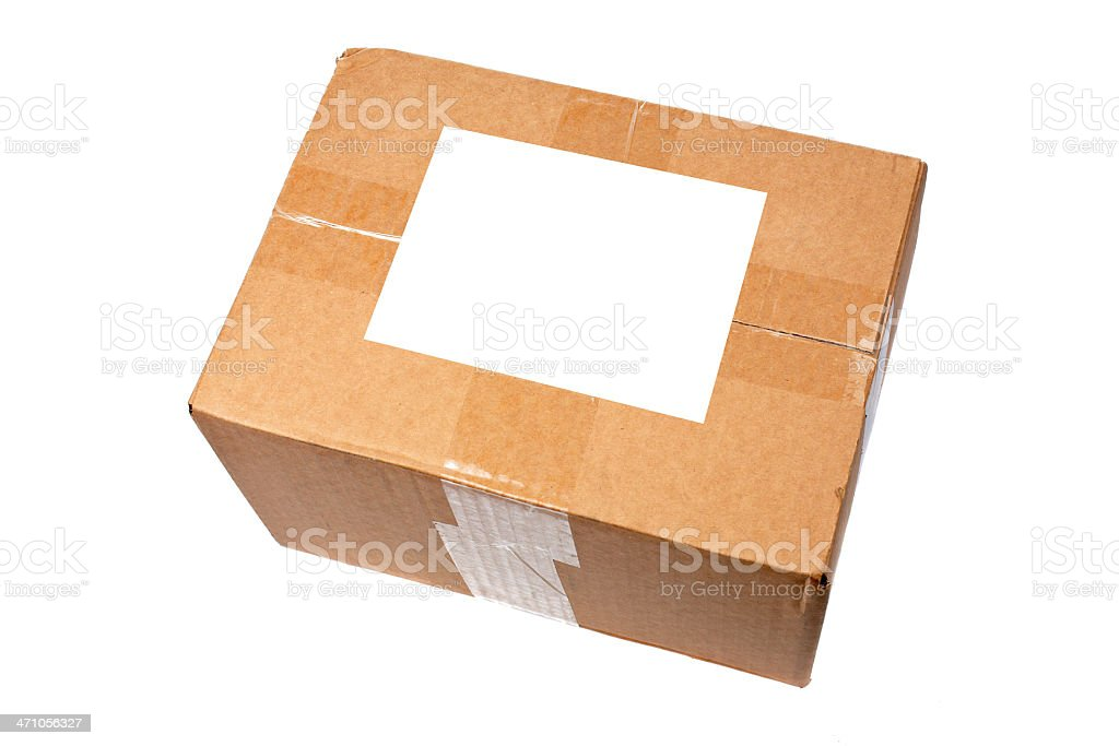 Box with blank label royalty-free stock photo