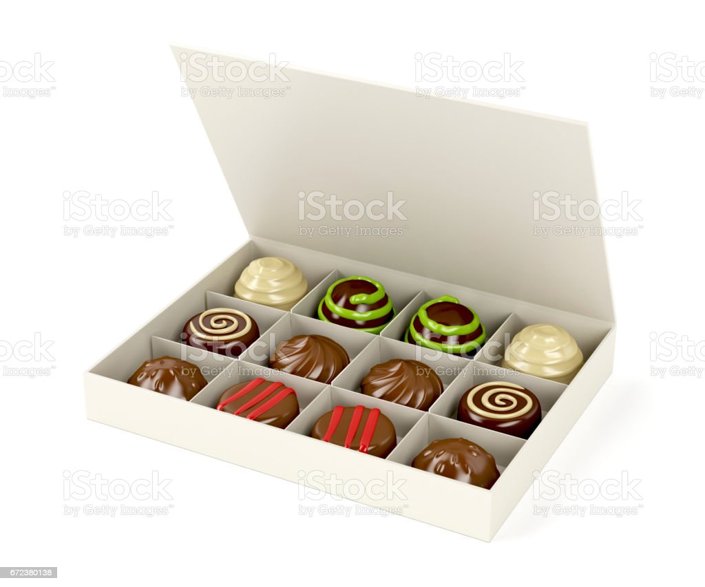 Box with chocolate candies stock photo