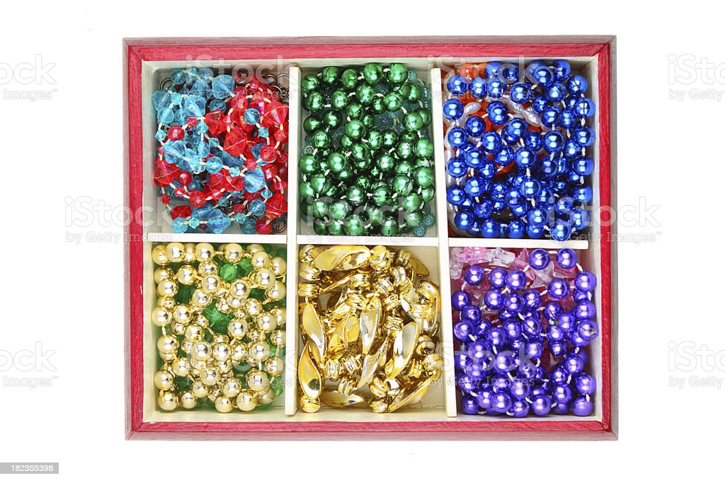 Box with colourful beads royalty-free stock photo