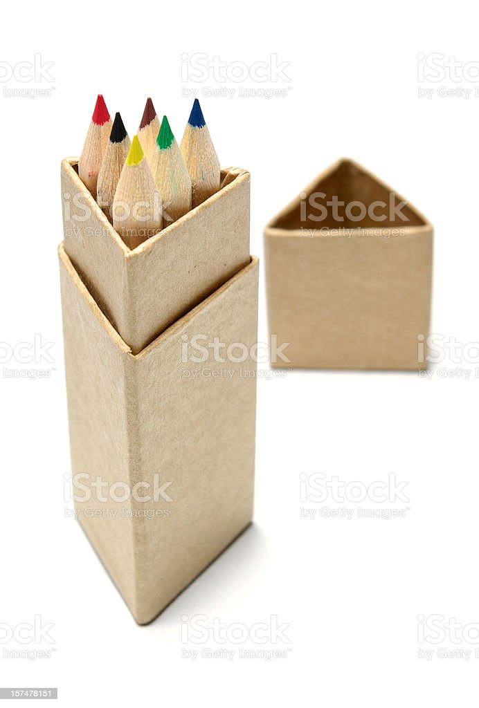 box with crayons stock photo