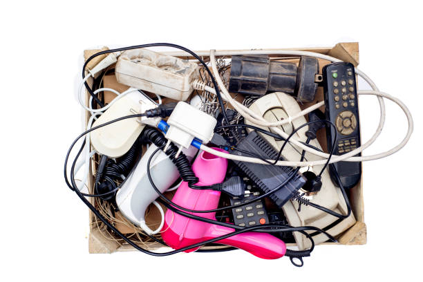 box with e-waste from household electrical appliances stock photo