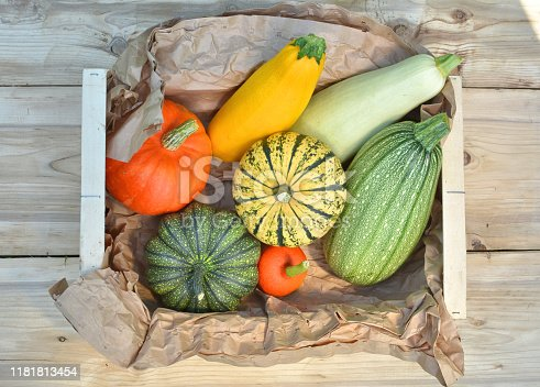 Box with fresh pumpkins and squash vegetables harvest on wooden background. Top view