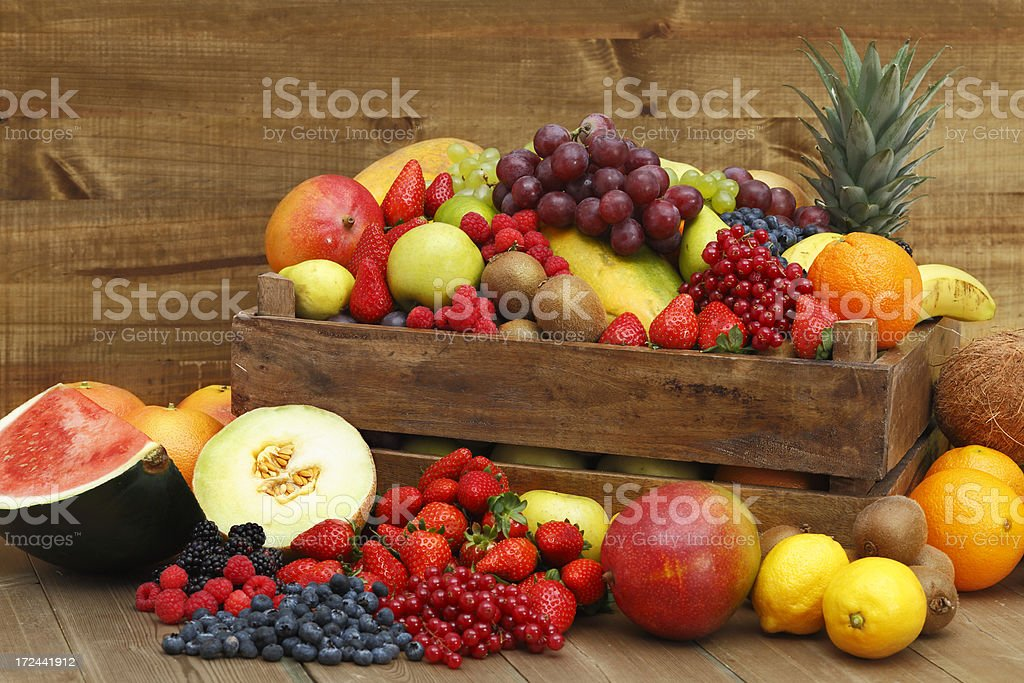 Box with fruits royalty-free stock photo