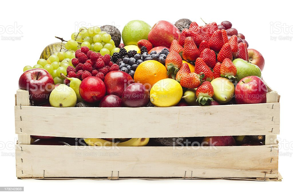 Box with fruits stock photo